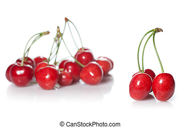 red cherry isolated on white