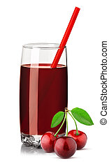 red cherry juice in a glass isolated on white
