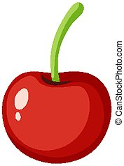 Red cherry on white background