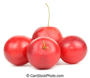 Red Cherry Plums Isolated on White Background