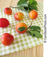 Red cherry plums