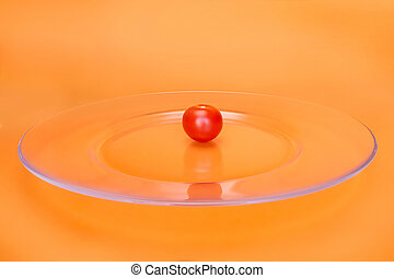 Red cherry tomato on transparent plate - Small red cherry ...