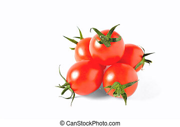 red cherry tomatoes on white background, isolate, close-up