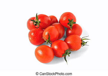 red cherry tomatoes with water drops on white background, isolate, close-up