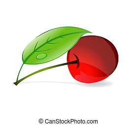 red cherry with green leafs symbol