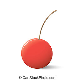 red cherry with sprig on white background