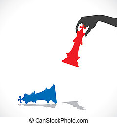 red chess king defeat blue king stock vector