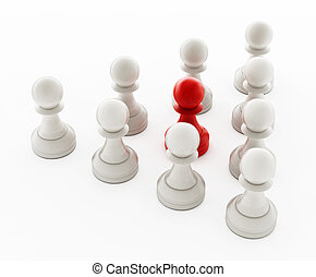 Red chess pawn standing ahead of white pawns. 3D illustration