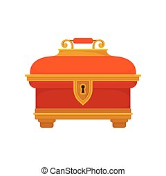 Red chest on white background. Vector illustration.