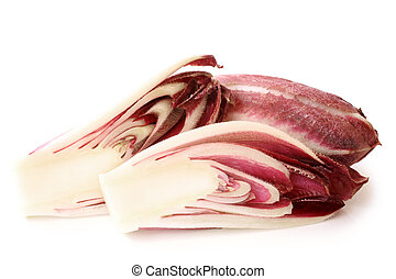 Red chicory on white background