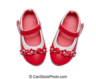 Red child shoes isolated over white background