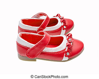 Red child shoes isolated