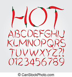 Red Chili Alphabet and Digit Vector