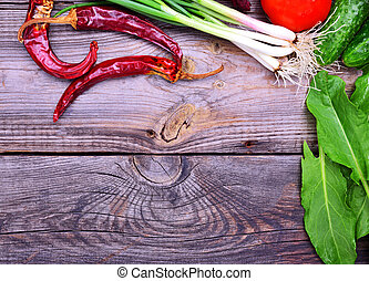 Red chili, green onions and other vegetables