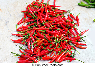 Red chili in the market