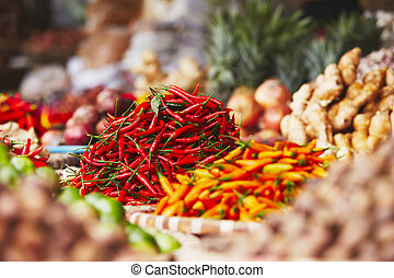 Red chili on the street market - Red chili on the...