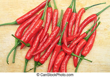 red chili on wood board