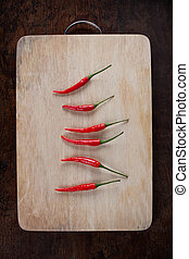 red chili on wood chopping block