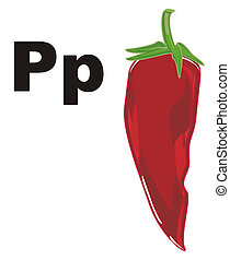red chili pepper and letters p