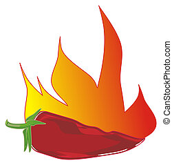 red chili pepper lying on fire