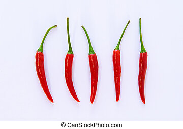Red chili pepper on a white background.