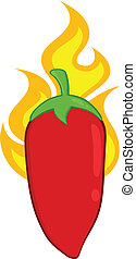 Red Chili Pepper On Fire