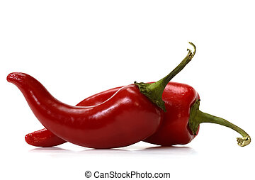 red chili pepper over white background