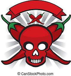 red chili pepper skull - red hot cayenne pepper skull...