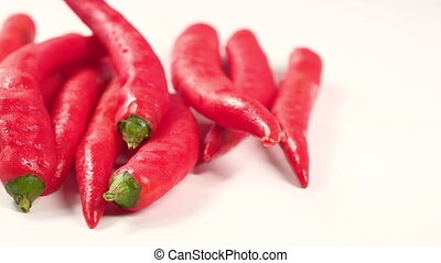 red chili pepper white background ..