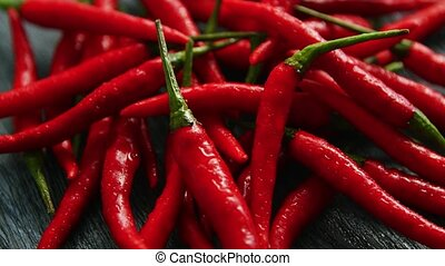 Red chili peppers in closeup - Closeup shot of bright...
