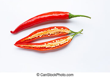 Red chili peppers on a white
