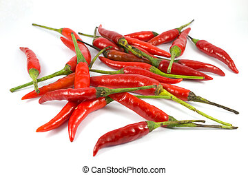 Red chili peppers on a white background.