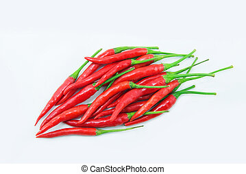 red chilies on white background