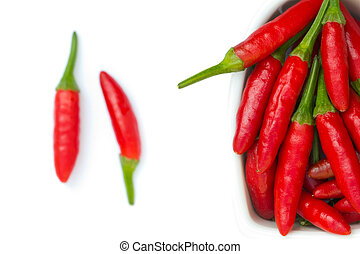 Red chilli in a bowl isolated on white background