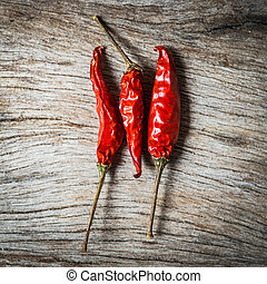 red chilli on wooden background
