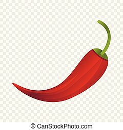 Red chilli pepper icon, cartoon style
