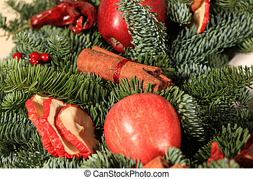 Red chillies on a Christmas wreath