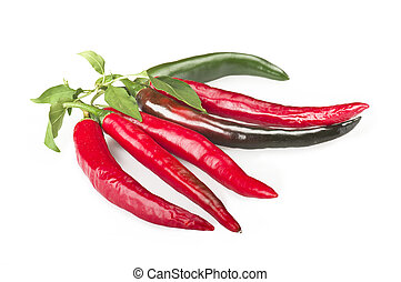 Red Chilly pepper - Red chili pepper close up on a white...