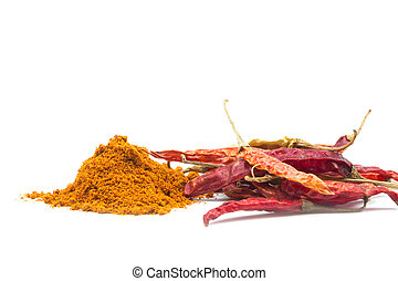 Red chilly pepper,dried chilies on white background