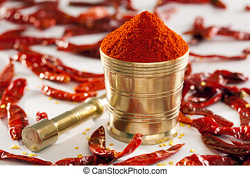 Red Chilly powder is made from dried Kashimir chillies.