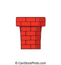 Red Chimney icon in flat style.