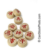 Red Chinese chess pieces on white background