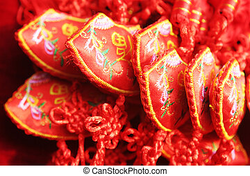 Red Chinese crafts made from embroidered fabric