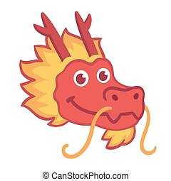 Chinese dragon head - Red Chinese dragon head icon in cute...