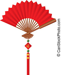 Red Chinese Fan with Tassel Illustration