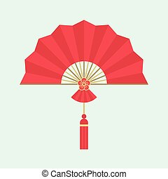Red Chinese folding handheld fan with plum blossom sign, flat design
