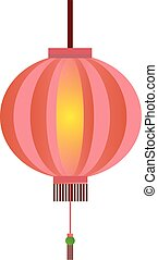 Red Chinese lantern flat illustration isolated on white....