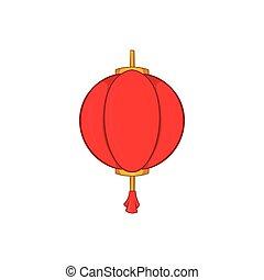 Red chinese lantern icon, cartoon style