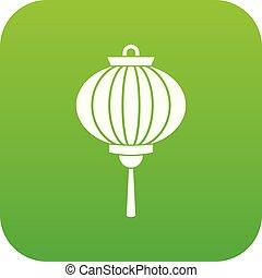 Red chinese lantern icon digital green