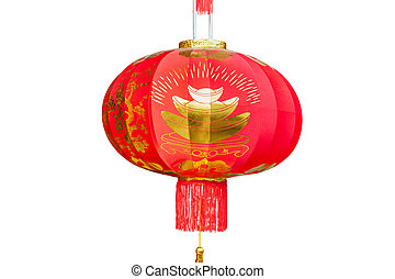 Red Chinese Lantern isolated on white Background.